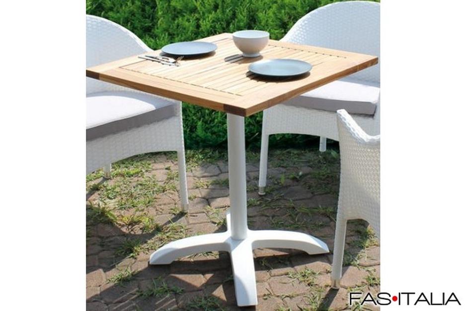 Vendita Tavoli E Sedie Firenze.Tavolo Quadrato Teak 80x80 Base In Alluminio