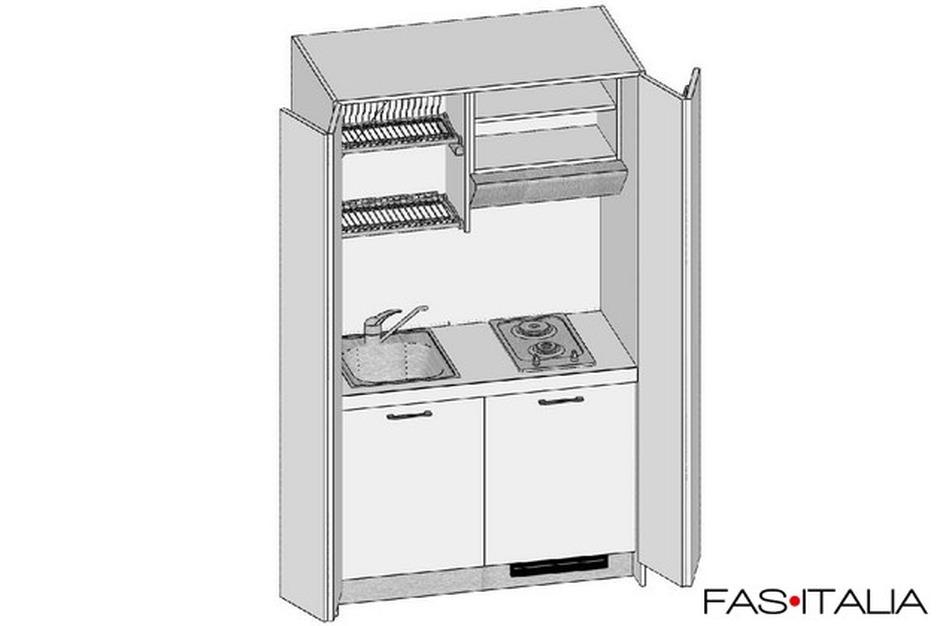 Mini cucina monoblocco con ante a libro 124 cm